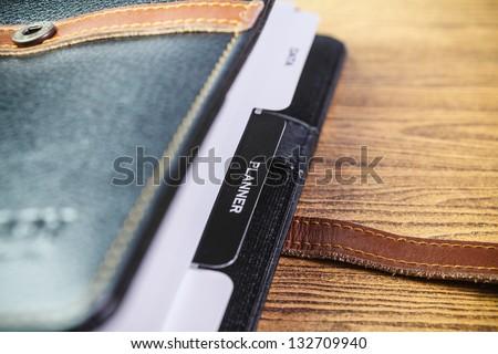 Opened diary planer - stock photo
