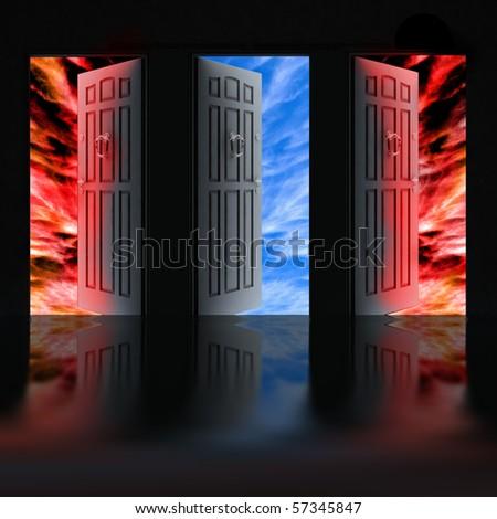 Opened door - stock photo