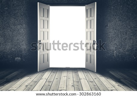 Opened door. Abstract interior backgrounds with wooden floor and concrete wall - stock photo