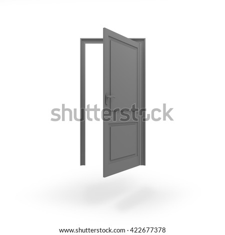 Opened door icon JPEG isolated white background. 3D rendering. - stock photo