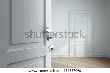 opened door in gray room