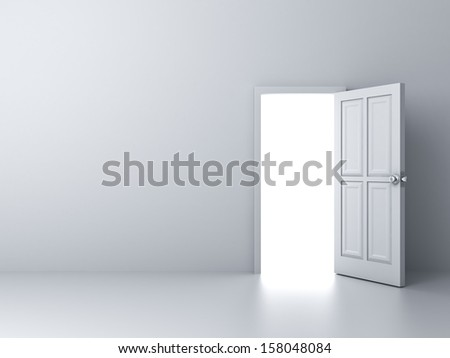 Opened door with bright light on empty white wall background - stock photo