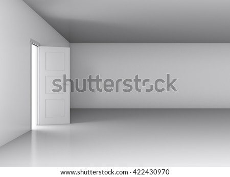 Opened door with bright light on empty white wall background. 3D rendering