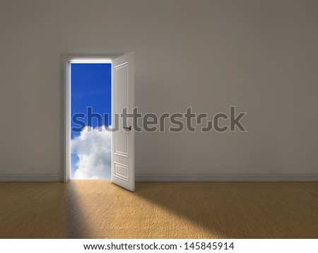Opened door with light coming from outside - stock photo