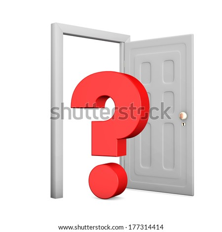 Opened door with red question mark on the white background. - stock photo