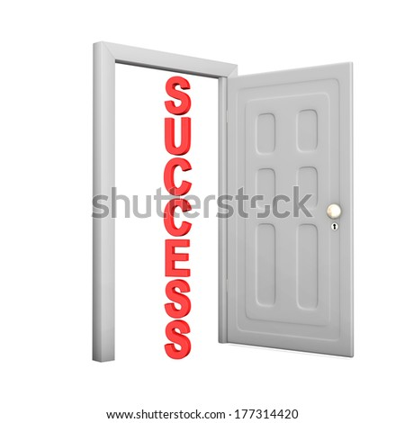 Opened door with red text Success on the white background. - stock photo