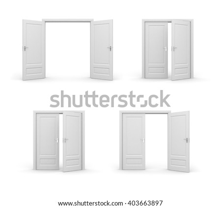 Opened doors. 3d illustrations set