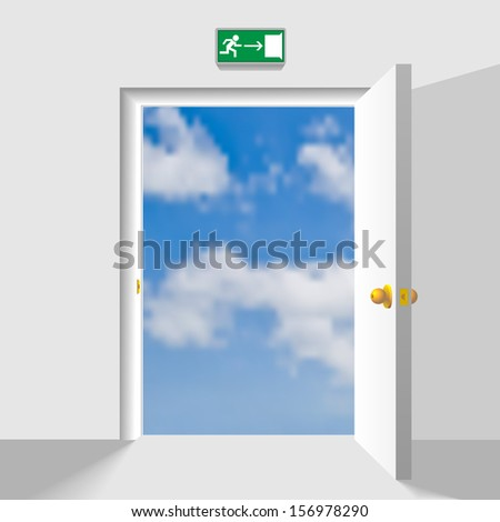 Opened doorway leading to the heaven. Concept vector illustration. Raster version of vector id:30891850 - stock photo