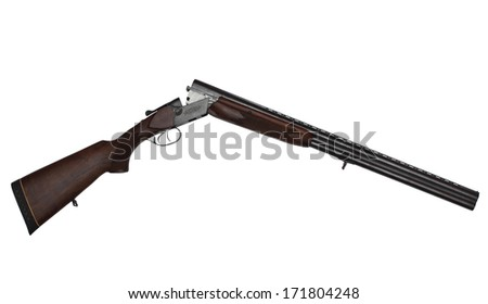 Opened double-barrelled hunting gun isolated on white background - stock photo