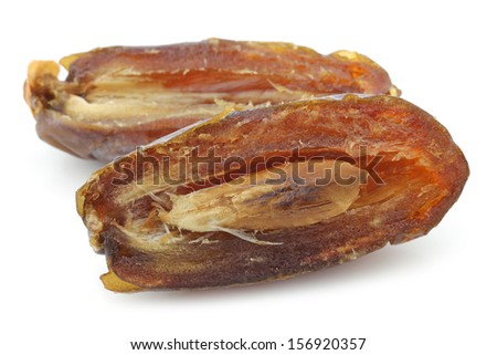 opened  dried date one on a white background