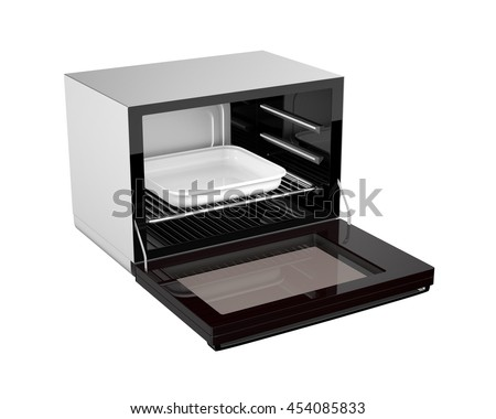 Opened electric oven isolated on white background. 3D rendering image.