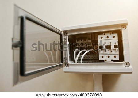 Opened electrical supplies in switchgear cabinet