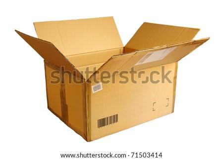 Opened empty cardboard box isolated on white background - stock photo