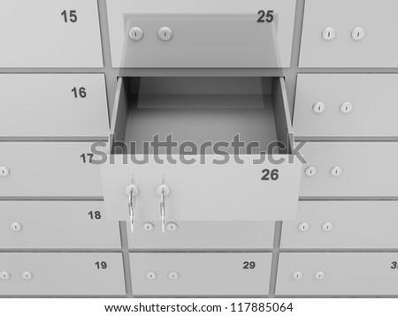 Opened Empty Deposit Bank Safe - stock photo