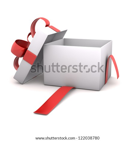 Opened empty gift carton on the white background. - stock photo