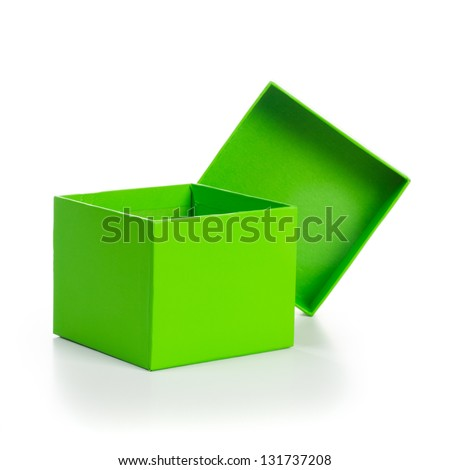 Opened empty green gift box on white background clipping path included - stock photo