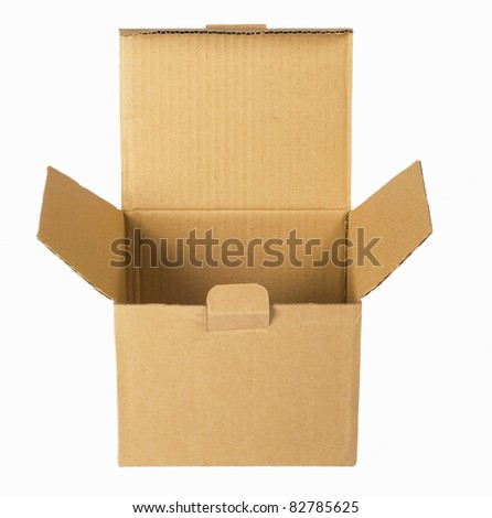 opened empty paper packing, box  isolated on white