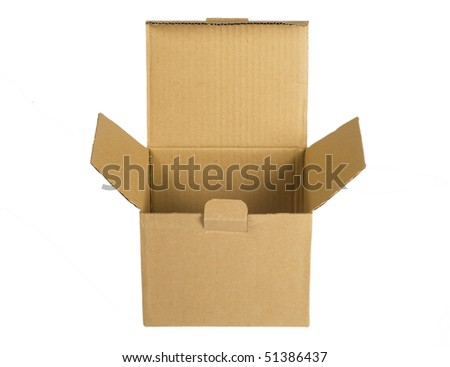 opened empty paper packing, box  isolated on white background