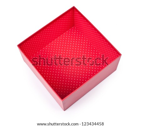 Opened empty red gift box on white background - stock photo