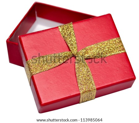 Opened empty red gift box with copy space, lid, and bow on a white background - stock photo