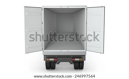Opened empty semi-trailer isolated on white background - stock photo