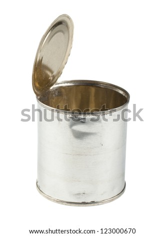 Opened empty tin can isolated on a white background - stock photo