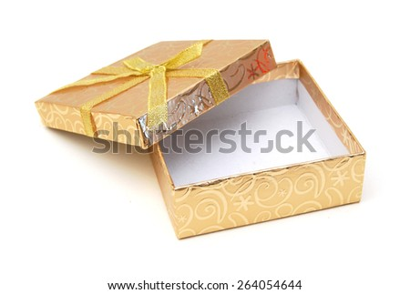 Opened empty yellow gift box with lid on white background  - stock photo