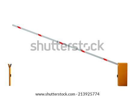 Opened entrance barrier isolated on white background - stock photo
