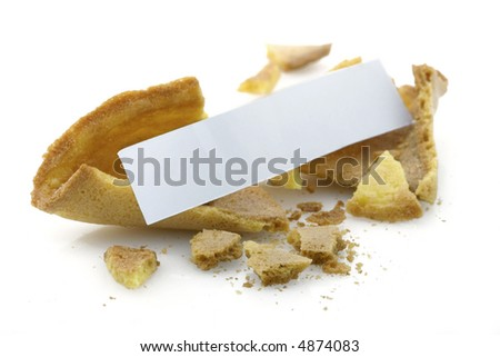 Opened fortune cookie with blank message - insert your own - stock photo