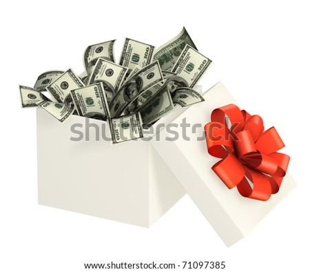 Opened gift and dollars. Objects isolated over white