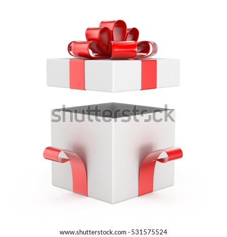 Opened gift box blank isolated on a white background 3d rendering