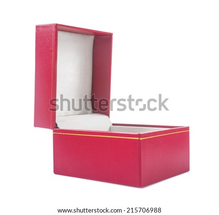 opened gift box covered with red soft textured leather isolated on white background