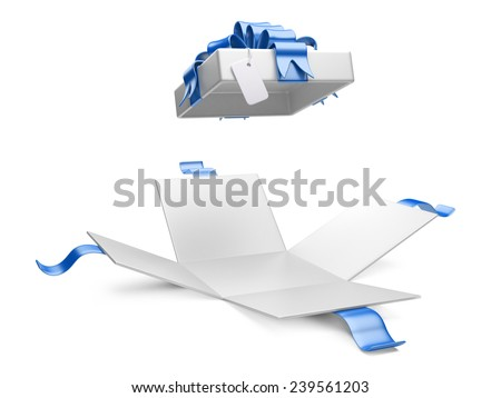 Opened gift box  isolated on a white background