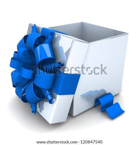 opened gift box, with a ribbon like a present. over white background 3d illustration. - stock photo