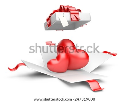 Opened gift box with red hearts isolated on a white background - stock photo