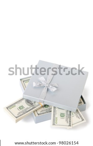 Opened gift box with US paper currency, isolated over white