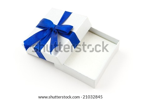 Opened gift with blue bow - stock photo