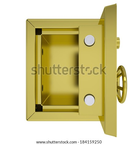 Opened gold safe. Isolated render on a white background - stock photo