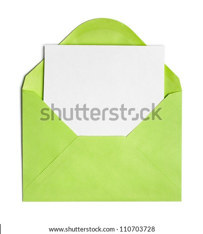 Opened green envelope or cover with blank paper sheet included - stock photo