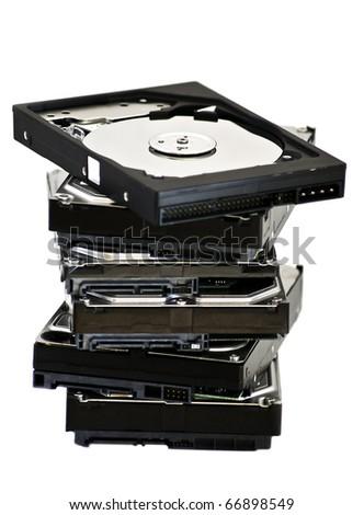opened hard disk drive  isolated on white background - stock photo