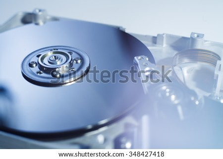 Opened Hard Disk Drive photographed with soft focus and soft flare with blue darktones