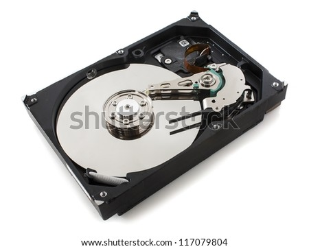 opened hard drive isloted on white