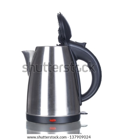 Opened kettle isolated on white - stock photo