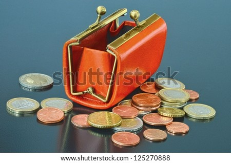 Opened leather purse with some euro coins around - stock photo