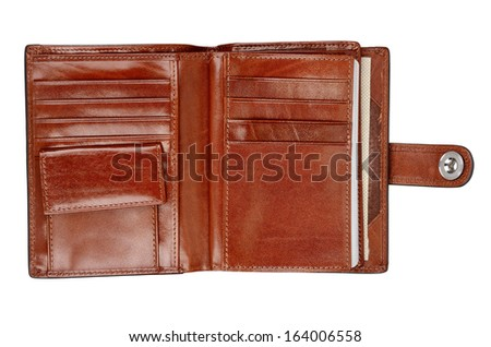 Opened leather wallet isolated on white background