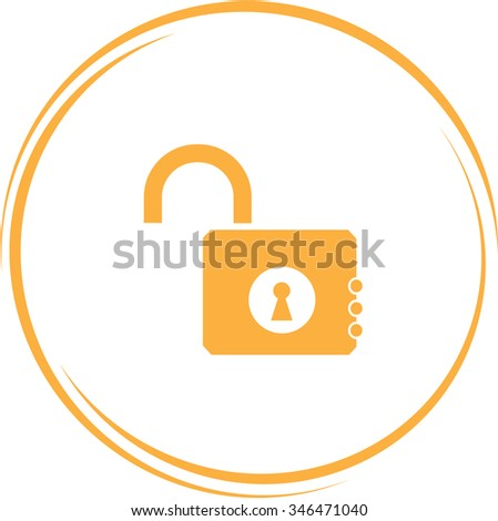 opened lock. Internet button. Raster icon.