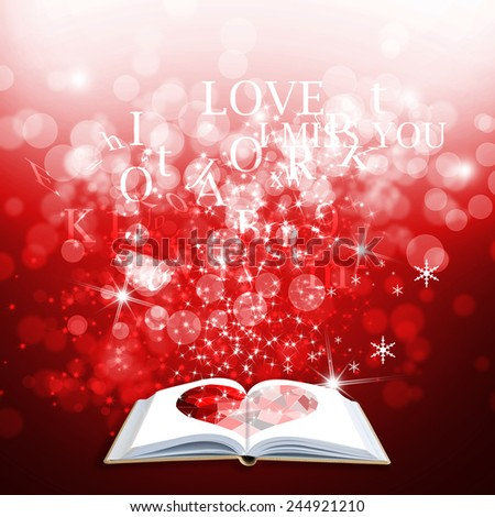 Opened magic love book on red background