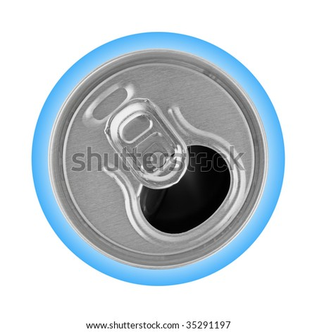 Opened metal can isolated on white background - stock photo