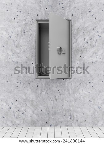 Opened Modern Electronic Steel Safe in the Concrete Wall