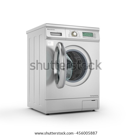 Opened modern washing machine in metallic color. 3d illustration